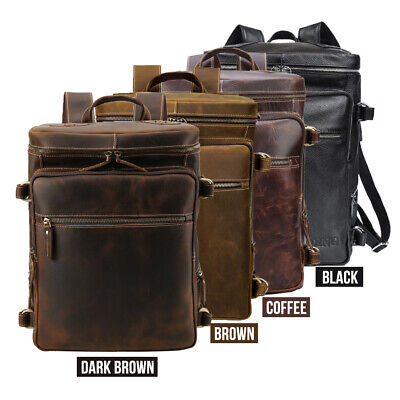 "Large Men's Leather 15.6""Laptop Backpack Shoulder Bag Travel Hiking Outdoor Tote - Large Leather Laptop Backpack"