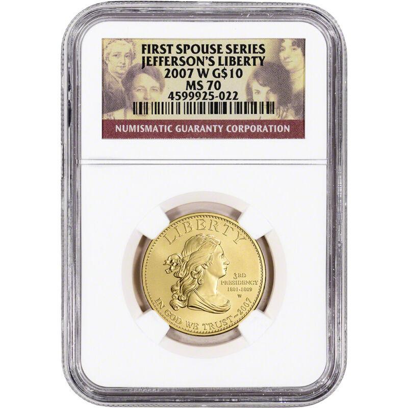 2007-W US First Spouse Gold 1/2 oz BU $10 - Thomas Jefferson