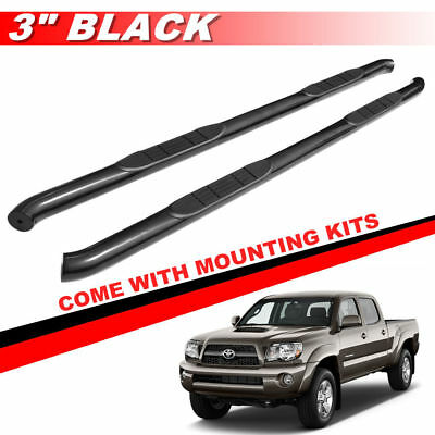"""3"""" Black Round Side Steps For 2005-2019 Toyota Tacoma Access Cab Running Boards"""