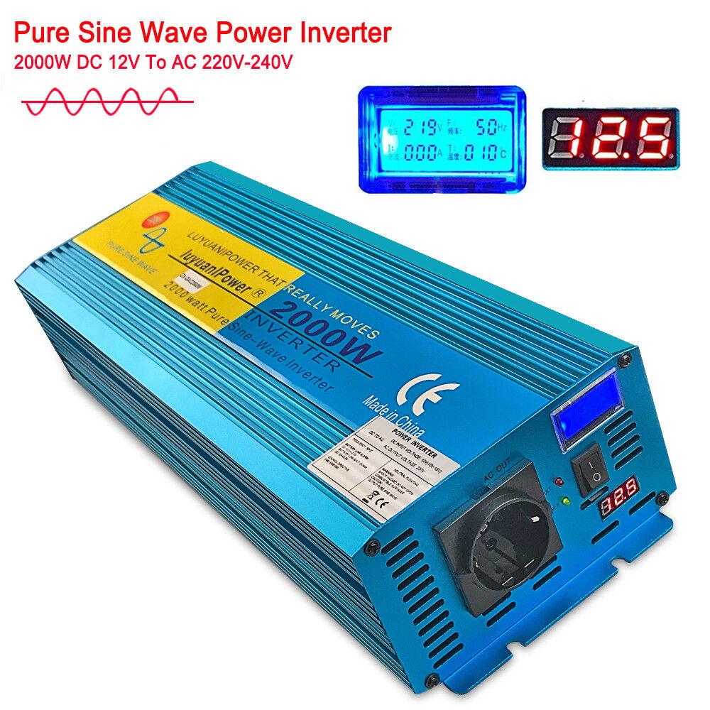 2000W 4000 Watt Reiner Sinus Wechselrichter Spannungswandler DC 12V - AC 230V