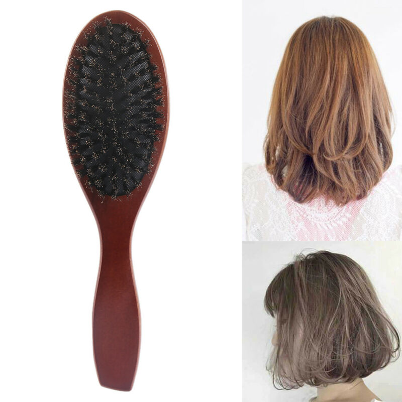Details about Natural Boar Bristle Brush Scalp Massage Hairdressing Oval  Hair Styling Comb