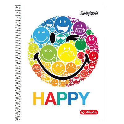 Spiralblock A4 SmileyWorld 80 Blatt lin.28 Motiv Rainbow von Herlitz