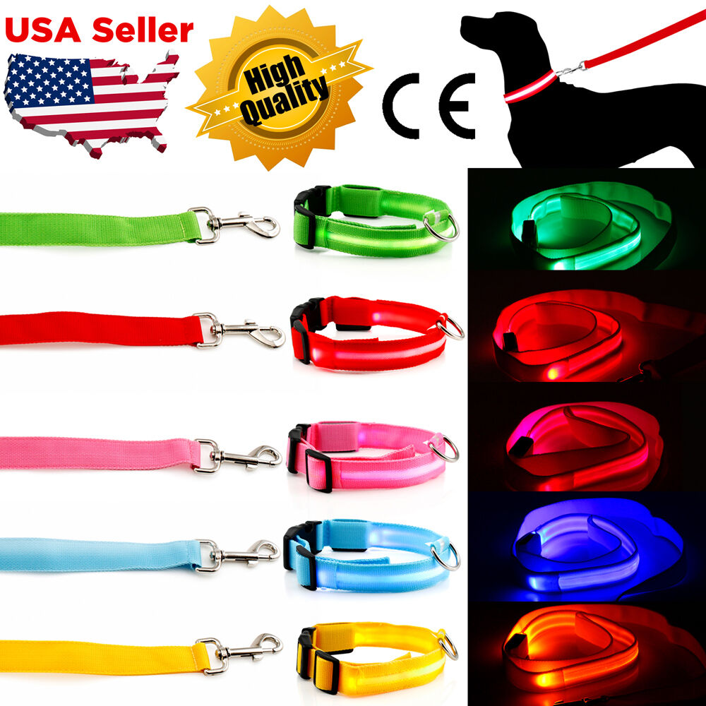 LED Light up Dog Pet Night Safety Bright Flashing Adjustable Nylon Collar Leash