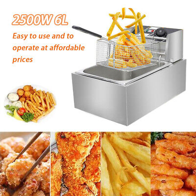 2500w 6l Commercial Electric Deep Fryer Restaurant Stainless Steel 6.3qt Us New