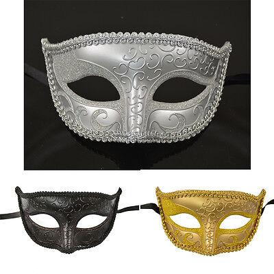 Men Venetian Elegant Masquerade Mardi Gras Glitter Costume Black/Gray/Gold Mask