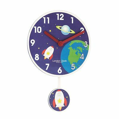 London Clock Co 40cm Blue Rocket Pendulum Children's Wall Clock