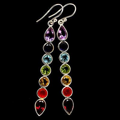 Multi-stone Rainbow Chakra Sterling Silver Earrings 2 1/2