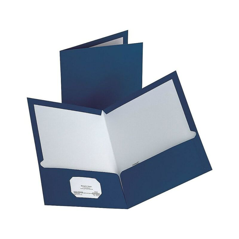 Staples 2-Pocket Laminated Folders Dark Blue 10/Pack (13372-CC) 907578