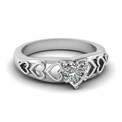 1/2 Carat white gold Unique Solitaire Heart Diamond Engagement Ring 14K SI1 GIA