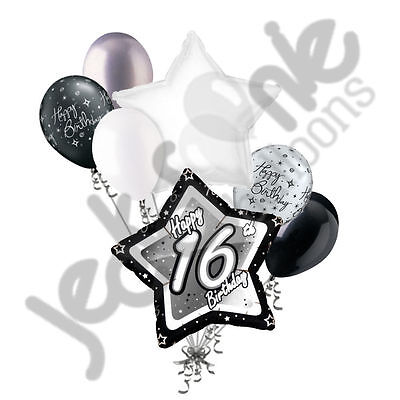 7 pc 16th Elegant Star Happy Birthday Balloon Bouquet Decoration Black & - Happy 16th Birthday Balloons