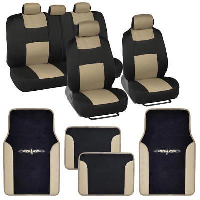 Black & Beige Seat Covers Set Complete w/ Two Tone Vinyl Trim Floor Mats