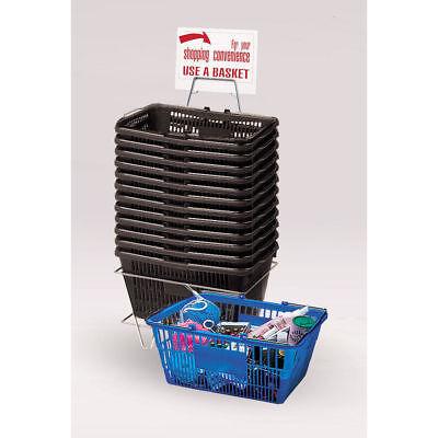 12 Black Plastic Shopping Baskets 18816