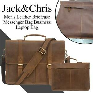 NEW JackChris Mens Leather Briefcase Messenger Bag Business Laptop Bag, 1116-2 Condtion: New