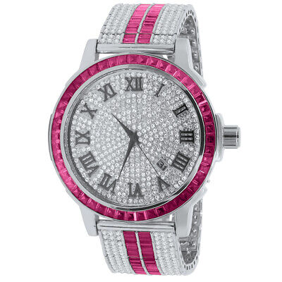 Mens Roman Face Pink Tourmaline Steel Baguette Solitaire Bezel Custom Band Watch