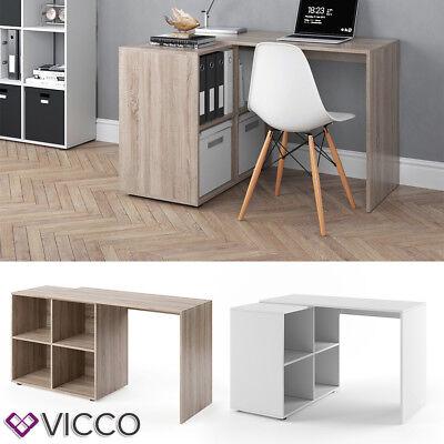 VICCO Schreibtisch Regal-Kombination Eiche Weiß Winkelschreibtisch PC Büro ()