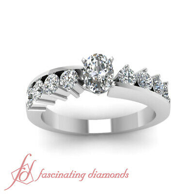 1.20 Ct Oval Shaped And Round Cut Diamond Unique Engagement Rings For Women GIA 1