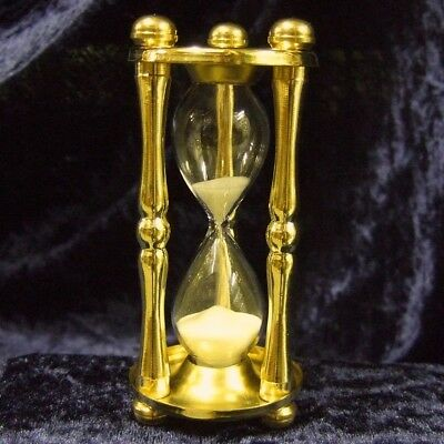 Sanduhr 5 Min, Kurzzeitmesser aus Messing wie antik, Zeitmesser für Spielrunden