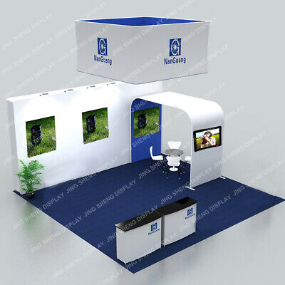 20ft Trade Show Display Booth Pop Up Stand Hanging Sign Tv Bracket Light Counter