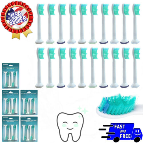 20 Sonic Replacement Toothbrush Heads Compatible with Sonicare Proresults HX6014