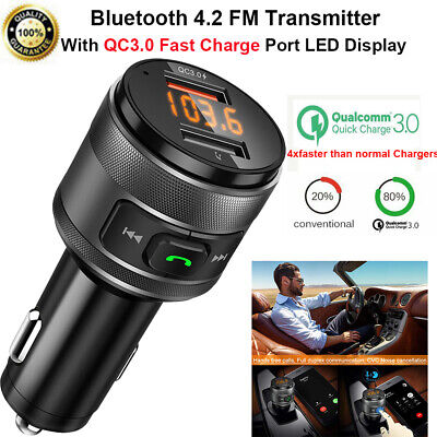 Bluetooth FM Transmitter For Car W/QC3.0 Fast Charger Wireless Bluetooth Adapter