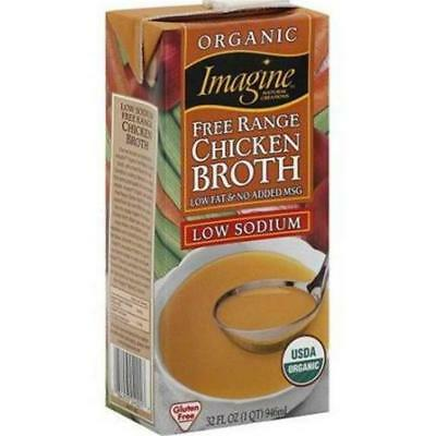 Imagine Foods-Low Sodium Free Range Chicken Broth (12-32 oz boxes) - Free Range Chicken Broth Soup