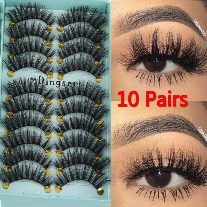 DINGSEN 10 Pairs 3D False Eyelashes Wispy Fluffy Natural Lon