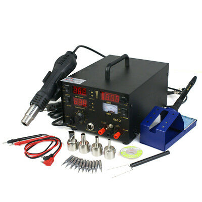 3in1 853d Soldering Iron Rework Station Hot Air Gun Tip 4 Nozzles Heat Gun