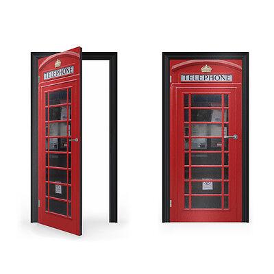 Británico Cabina de Teléfonos Roja Vinilo Adhesivo para Puerta/Doorwrap/Puerta