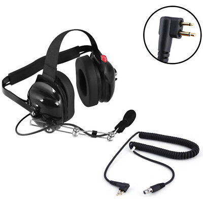 Pro BTH Behind The Head Two Way Radio Racing Headset w/ Motorola Coil Cord Cable