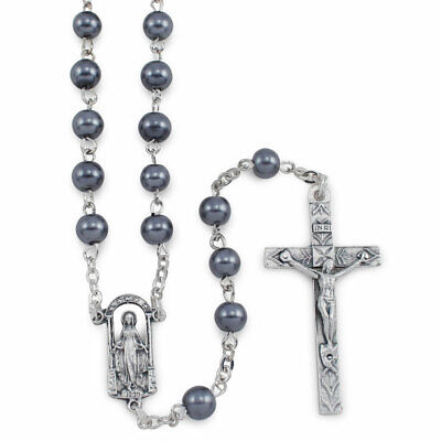 Rosary with Black Glass Beads and Miracouls Center