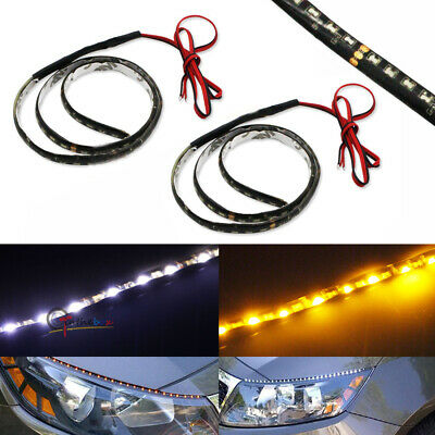 2pcs Audi Style White/Amber Side Glow 60-SMD LED Strip For DRL Turn Signa Lights