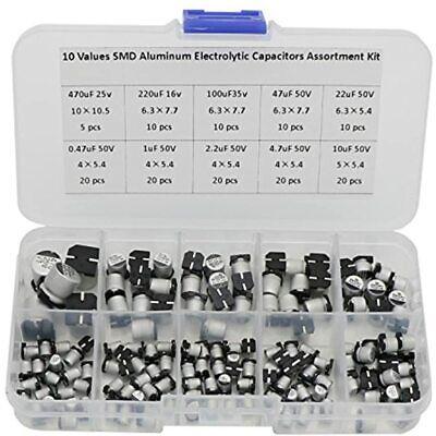 145 Pcs Smd Capacitors Assorted Box Kit 10 Values 0.47uf 470uf Electrolytic