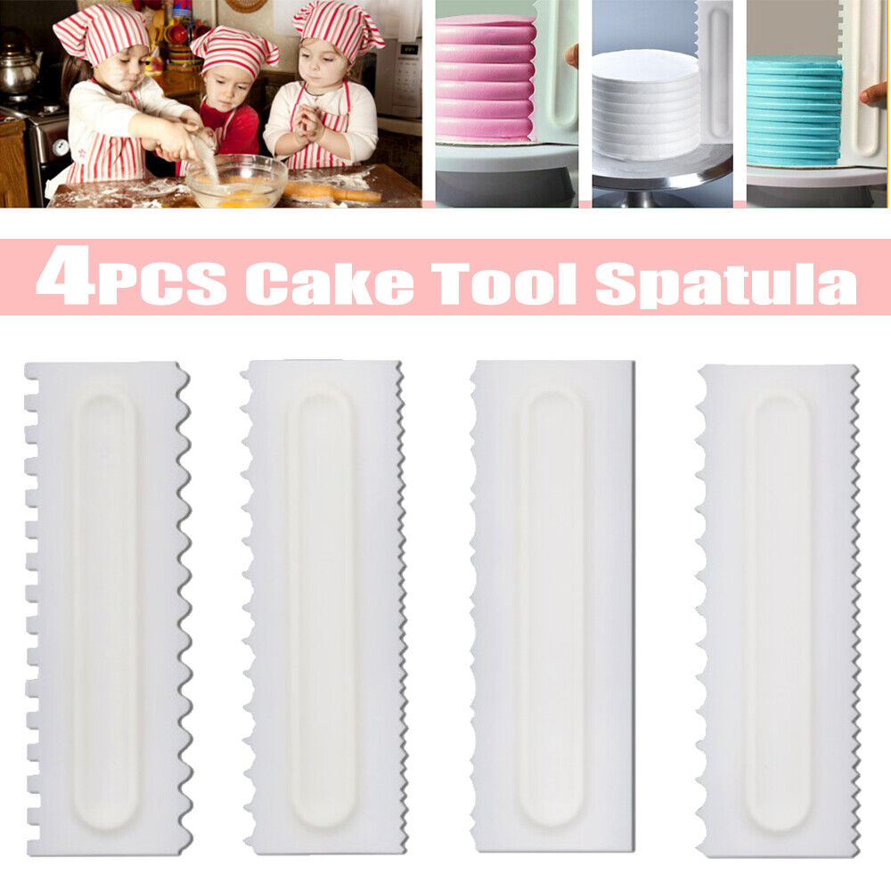 4Pcs Cake Decorating Comb Icing Smoother Scraper Edge Frosti