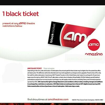 AMC Theater Black Movie Ticket  Fast E-Delivery   50 States No expiration