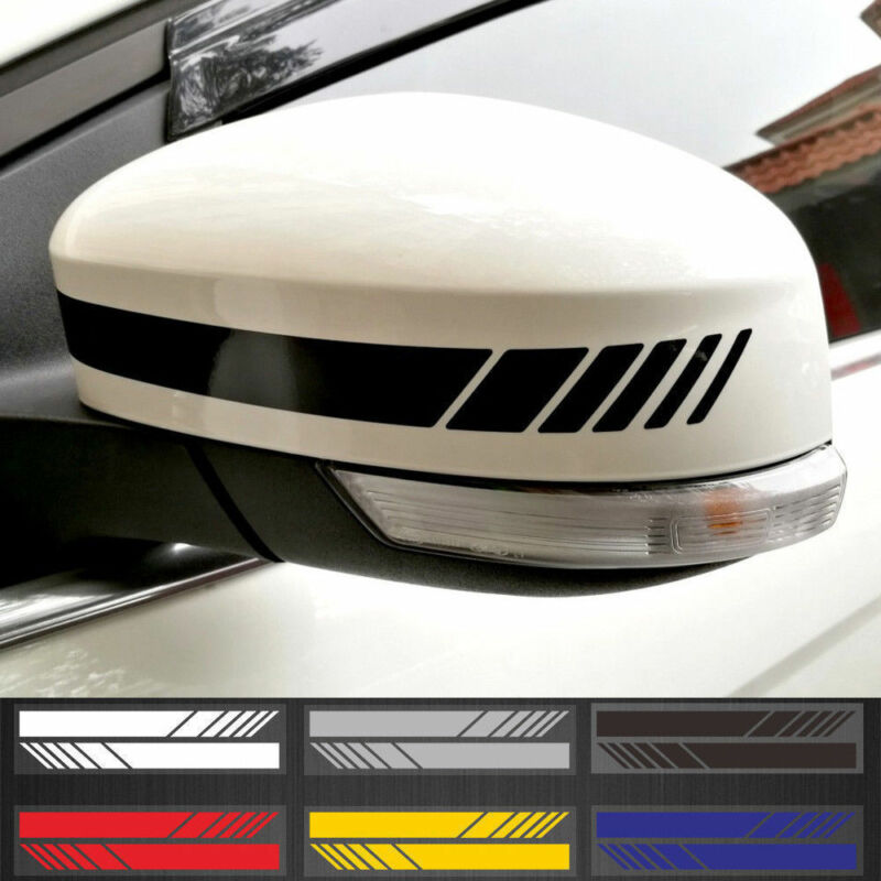 2Pcs Universal Car Rearview Mirror Sticker Racing Reflective Decal Emblem Decor