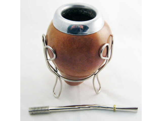 ARGENTINA MATE GOURD GREEN TEA STRAW BOMBILLA INFUSION CUP SILVER NEW SET 6358