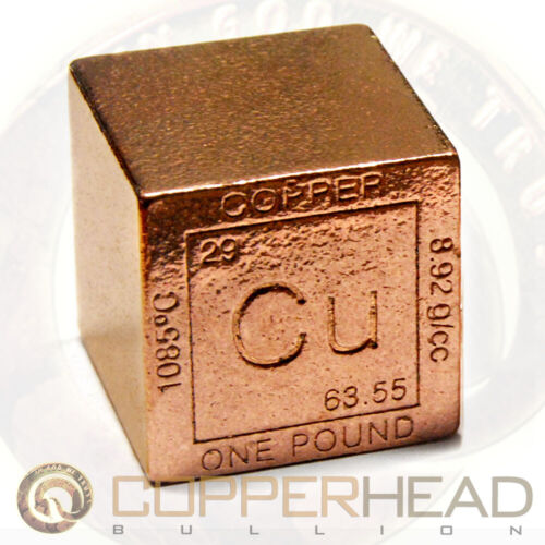 "1.5"" Inch (1 lb Pound / 16 oz) Copper Bullion Cube Element .999 Fine Bar 1/2"