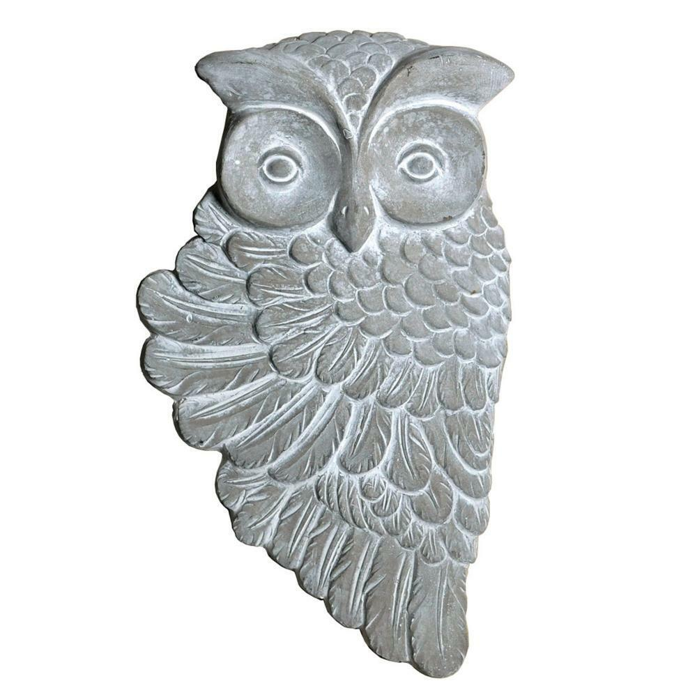 STONE GARDEN OWL BIRD WALL PLAQUE HANGING ORNAMENT