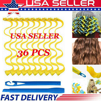 36pcs 25-65cm Water Wave Magic Curlers Leverage Former Spiral Hairdressing Tool