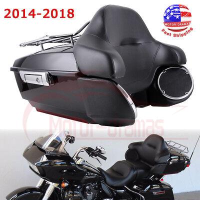 King Tour Pak Pack Trunk W/ Rack Backrest Speakers For Harley Touring 2014-2018