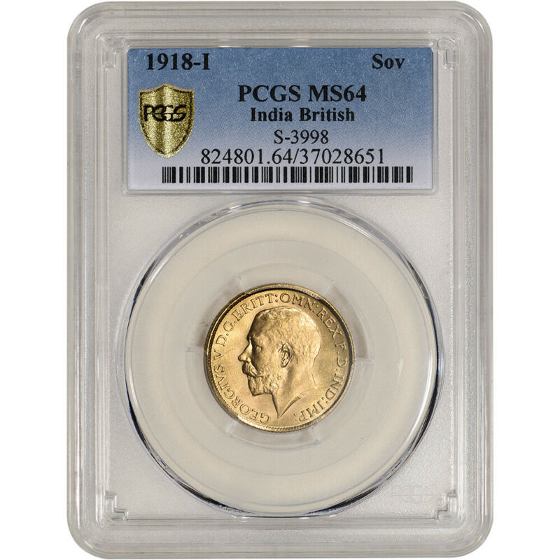 1918 I India British Gold Sovereign - PCGS MS64 S-3998