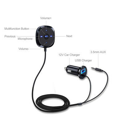 Bluetooth Audio Music Receiver Auto car 3.5mm Adapter USB Charger AUX MP3 Player