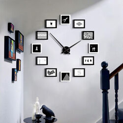 Modern Wall Clock & DIY Wall Mount 12 Multi Photo Family Picture Collage Frame