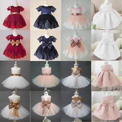 US Flower Girl Bow Princess Dress Kids Party Wedding Bridesmaid Formal Dresses