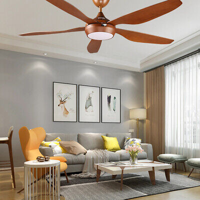 54'' Five-Blade Brown Ceiling Fan Remote Control Modern Noiseless LED light
