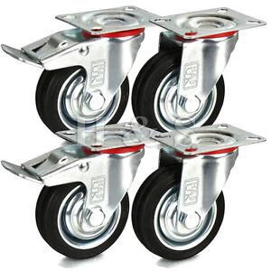 4 x Heavy Duty 75mm Rubber Swivel Castor Wheels Trolley Furniture Caster Black