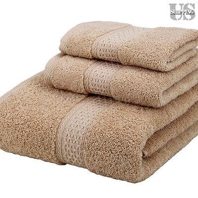 NEW 3 Piece 100% Cotton Washcloth Face Hand Bath Bathroom Towels Set USA
