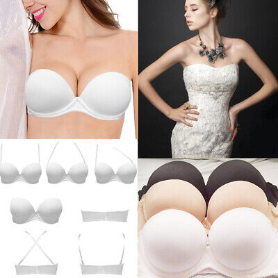 Push Up Padded Bra Strapless Multiway Underwired Clear Back Straps Lingerie ABCD ()