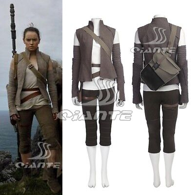 The Last Jedi Rey New Cosplay Costume Full Outfit with Bag Comic Con Halloween