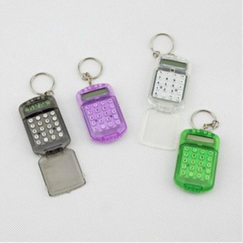 1Pc Mini 8 Digits Electronic Calculator With Keychain Student Office Supplies